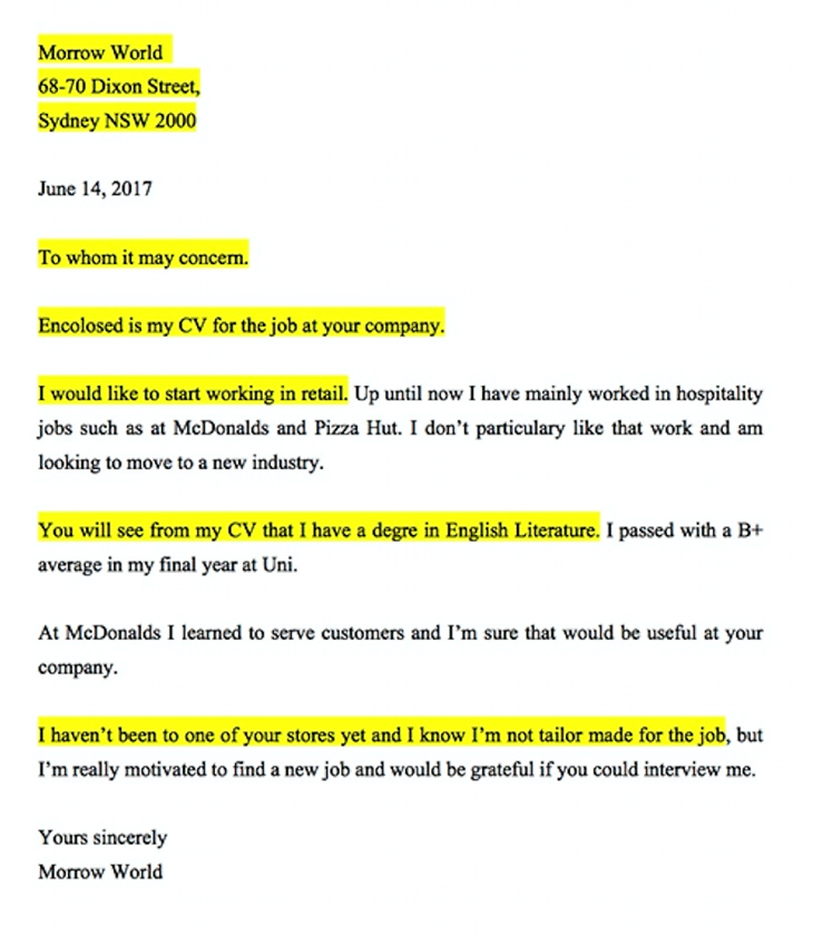 Cover letter yelopaper Gallery